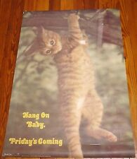 Vintage 1973 HANG ON BABY, IT'S FRIDAY George & Judy Manna Cat Kitten Poster