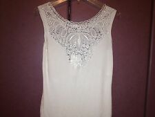 NWT BC BLACK  CAT FASHION LACE DECORATED RAYON  WOMENS WHITE TOP  SZ L-XL