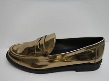 Cole Haan Size 9.5 Gold Chrome Leather Loafers New Womens Shoes