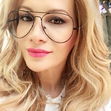 Large Sexy Aviator Thin BLACK Metal Wire Frame Clear Lens Big EyeGlasses Frames
