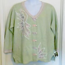 "Storybook Knits Cardigan Sweater Plus Size 1X ""Bird from Paradise"" Gorgeous! NWT"