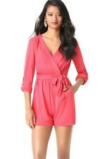 BEBE TEABERRY ROLLED SLEEVE DAY ROMPER NEW NWT $99 XSMALL XS
