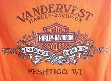 Harley Davidson Motorcycles Vandervest Peshtigo, WI Orange Graphic T-Shirt A2