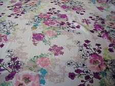 CHIFFON PRINT-PASTEL BUTTERFLY FLORAL-IVORY/PINK/GREEN -DRESS FABRIC-FREE P&P