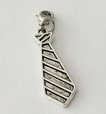LOVELY SILVER  MENS TIE CLIP ON CHARM FOR BRACELETS -TIBETIAN SILVER - NEW
