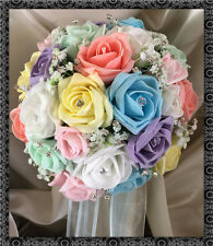 Wedding Flowers Bride Bouquet pastel coloured Rainbow roses posy gyp/diamante