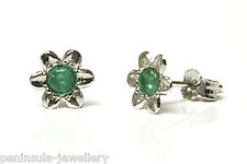 9ct White Gold Emerald Flower Stud Earrings Gift Boxed Made in UK