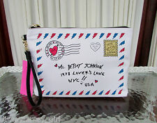 Betsey Johnson Love Letter Wristlet Large Pouch Cosmetic Travel Bag NWT