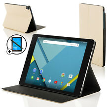 Leather White Clam Shell Case Cover for Google Nexus 9 + Screen Prot & Stylus