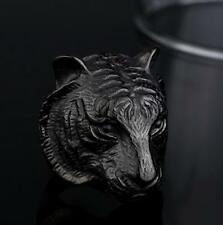 2016 fine Fashion Man's Stainless Titanium steel black tiger rings size:9
