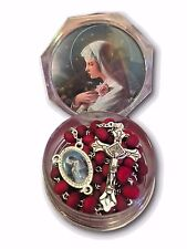 MADONNA OF THE ROSES  Rosary Matching CENTER  Case Rose Scented Beads Catholic