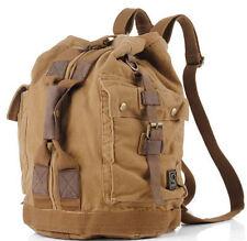 Men Travel Vintage Military Canvas Leather Backpack Rucksack Satchel Laptop Bag
