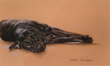"""LABRADOR RETRIEVER BLACK DOG ART LIMITED EDITION PRINT - """"Down but Not Out"""""""