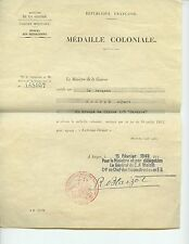 FRANCE - Colonial medal Diplome (document) - Sgt French Air Force - Indo-China