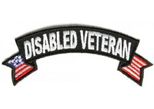 "(A18) Disabled Veteran with U.S Flag 4"" x 1.5"" sew / iron on patch (1555) Cap"