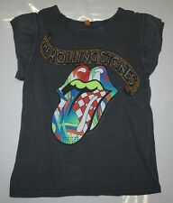 AMPLIFIED ROLLING STONES Multi Strass Lengua Rock Star ViP Camiseta Vintage (g).