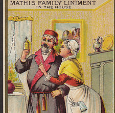 Mathis Family Liniment Toothache Cure bottle Headache old Advertising Trade Card
