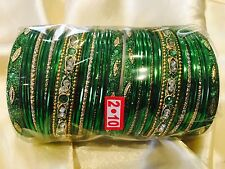 2.10 XL Bollywood Bangles Bracelet Indian Wedding Jewellery Green Gold G2