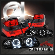 99-01 BMW E46 323i 325i 4Dr Black Halo Projector Headlights+Red Smoke Tail Lamps
