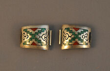 VINTAGE NAVAJO SILVER WATCHBANDS TURQUOISE CORAL CHIP INLAY & OVERLAY - S. DIXON
