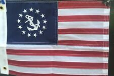 Embroidered Nylon Yacht Ensign Boat Flag SEWN Stripes USA American Made 12x18 in