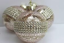 GISELA GRAHAM CHRISTMAS ANTIQUED GOLD GLASS BAUBLE WITH DIAMANTE BAND X 3