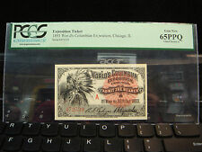 1893 World's Columbian Exposition Ticket Chicago Indian Chief PCGS Gem 65 PPQ