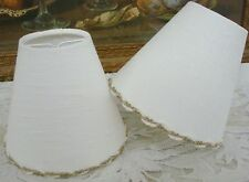 LOVELY WHITE LINEN CANDLE LAMPSHADE 11 x 13 cm / 4.3 x 5.1 in FOR WALL LIGHT BDF