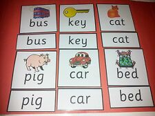 FIRST WORD RECOGNITION CARDS -3 LETTER WORDS - READ / SPELLING/ LETTERS EYFS