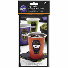 Wilton Coffin Drink Cup Glass Stickers Labels 12 Ct Day of the Dead Halloween