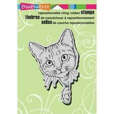 New Stampendous RUBBER STAMP cling FELINE CURIOUS PEEKING CAT Free us ship
