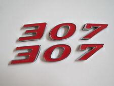CHEVROLET 307 ENGINE ID FENDER HOOD SCOOP QUARTER TRUNK EMBLEMS - RED