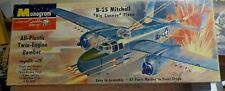 """VINTAGE [1955] MONOGRAM B-25 MITCHELL """"BIG CANNON""""  1/70 + REPRODUCTION DECALS"""