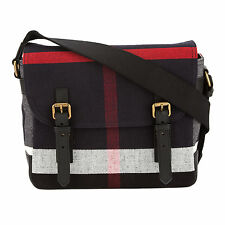 Burberry Black Leather and Navy Canvas Check Messenger Bag (New with Tags)