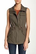 $79 Sebby Military Style Olive Green Long Utility Vest Jacket Cotton Size S NWT