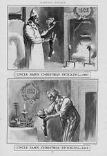 UNCLE SAM'S CHRISTMAS STOCKING IN 1802 TOYS CORN AND IN 1852 CALIFORNIA GOLD