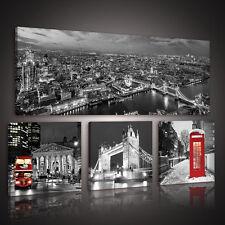 SET (4 teilig)  Leinwandbild Wandbild Foto STADT LONDON ROT BUS 3FX10277S15