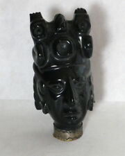 Collectible Hand Made Black Onyx/Obsidian Idol Carved AZTEC Figurine - Estate