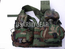 US Army MOLLE II Woodland Fighting Load Carrier Vest FLC LBV  +2 Canteen w Cover