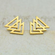Chevron Triangle Earring Studs - 24k Gold Plated Stainless Steel Earrings