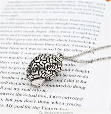 Anatomical Brain Bead Necklace Tibetan Silver Pendant For Women Girl Necklace
