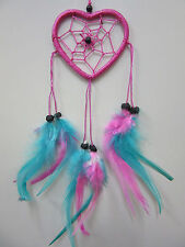 Heart 2 Tone Pink/Blue 6cm Web Coconut Bead Dream Catcher 33cm Total Length