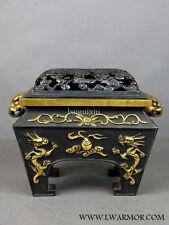 MEIJI1890-1920 Antique【Japan (Akagane 5% Gold) dragon】Vase statue Gilded copper