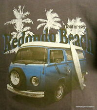 "Redondo Beach "" Surfer Bus "" Lg Brown  Short Sleeve Tee Shirt, 100% Cotton"
