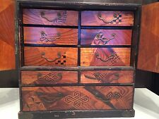 Antique Meiji Japanese Kodansu Tansu Box Chest Cabinet Inlay Marquetry Lacquered