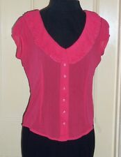 Miss Selfridge sz 10 fuchsia chiffon frilled collar short sleeve blouse