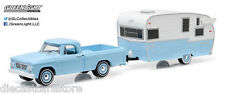 1963 DODGE D-100 AND SHASTA 15 AIRFLYTE HITCH & TOW 6 1/64 GREENLIGHT 32060 A