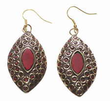 Magnificent & Grand Red Eye Stone Centre & Mini Gold Circle/ Hook Earrings(Ns10)