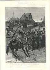 1892 Caton Woodville carestia Russia Cosacco PATTUGLIA STOP contadini lasciando Village