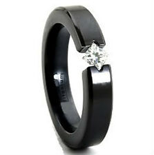 Black Plated TITANIUM TENSION RING with 4mm Square CZ, size 8 - in Gift Box